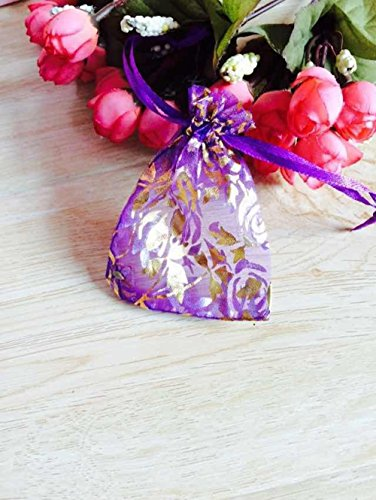 MIYI Organza Bag with Luxury Shiny Golden Pattern Rectangle Gift Bag Jewelry Pouch Wedding Party Favor Bag 4x5 Inch Pack of 50 PCS-Purple