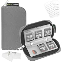 Eco-Fused Memory Card Carrying Case - Suitable for Sdhc and SD Cards - 8 Pages and 22 Slots - Microfiber Cleaning Cloth Included Grey
