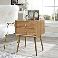Modway Dispatch Mid Century Modern Nightstand In Natural Natural - End Table For Bedroom Lamps - Bed Stand - Available In: Black - White - Natural - Walnut