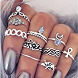 10pcs Vintage Silver Rings For Women Stainless Steel Rings For Women Midi Rings Knuckle Rings Tribal Ethnic Hippie Joint Punk Ring Set for Women