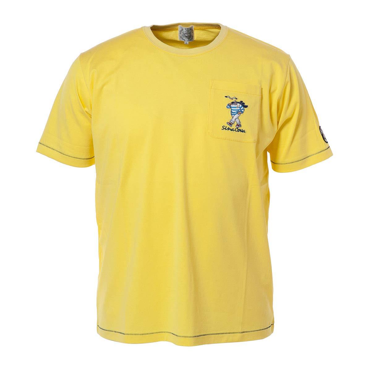 (シナコバ) SINA COVA デザインTシャツ ポケットTシャツ 半袖Tシャツ クルーネックTシャツ Tシャツ カットソー 綿 天竺 メンズ マリンウェア ゴルフウェア 19120530 LL レモンイエロー B07QCWQGCB