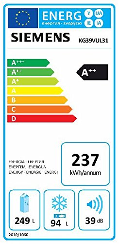 Siemens KG39VUL31 iQ300 Kühl-Gefrier-Kombination / A++ / 201 cm Höhe / 238 kWh/Jahr / 250 Liter Kühlteil / 94 Liter Gefrierteil / CrisperBox Feuchtigkeitsregler