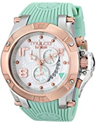 MULCO Unisex MW5-2029-423 Gold-Tone Stainless Steel Watch with Turquoise Silicone Band