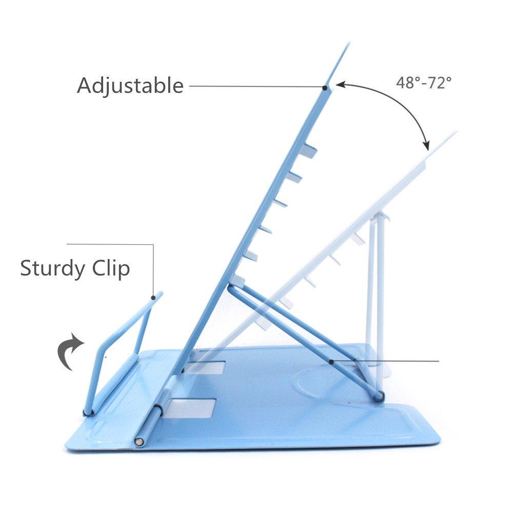 Reading Bookstand Book Holder, Kicpot Adjustable and Portable Reading Book Stand Document Holder (Iron Blue) by Kicpot (Image #2)