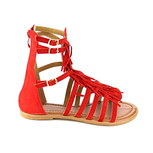 Womens New Fasion Katia Golden Buckle Strapy Fringe Tassel Midcalf Flat Sandle Shoes Red jZdv9aLB