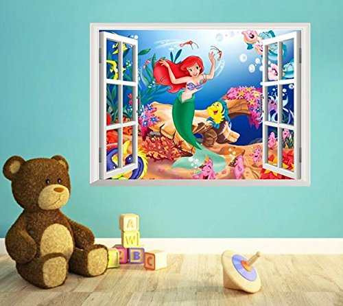 The Little Mermaid Wall Stickers For Kids Rooms Home Decoration Diy 3d  Window Sticker Wall Decal