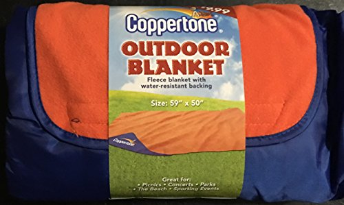 Outdoor Blanket Coppertone Fleece Water Resistant Backing Large 59'' X 50'' Picnics Concerts Beach by Coppertone