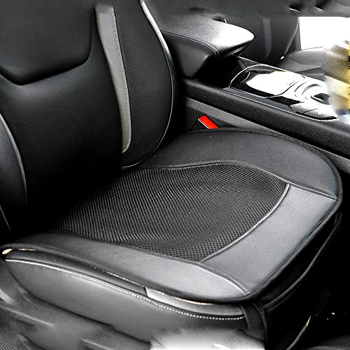 U&M Car Interior Seat Covers, Leather Mesh Front Seat Cushion Protection Pad Ventilated Breathable Comfortable, Anti-Skid Four Seasons Universal Fit