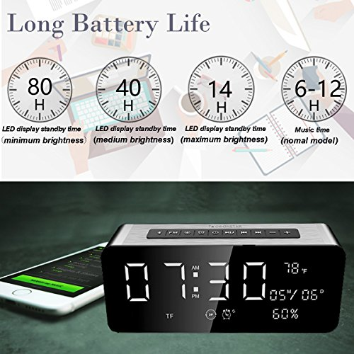 Orionstar Wireless Bluetooth Alarm Clock Radio Speaker with HD Sound & Big Digital Screen Showing Time/Date, Compatible with iPhone/Android/PC4/Aux/MicroSD/TF/USB, for Bedroom Office, Model A10 Silver by Orionstar (Image #5)