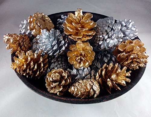 Wreaths For Door 18 Silver and Gold Pine Cones Hand Painted All Natural Premium Quality Cones Decorative Home Decor Bowl Displays Crafting Holiday Christmas Decor ()