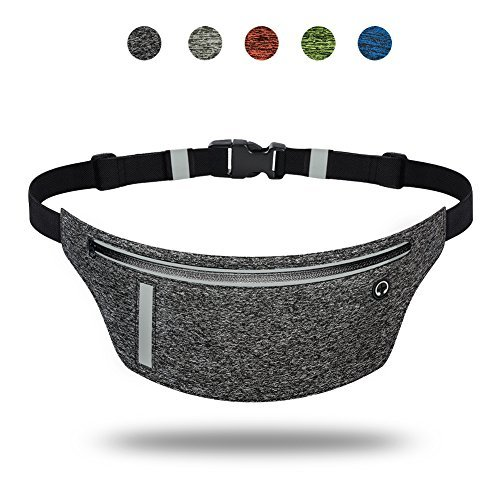 Ultra Slim Running Belt, Daily Water-Resistant Waist Pack for iPhone X 8 7 6 Plus, Men Women Runner Fitness Belts Fanny Pack for Samsung Galaxy Note 8 S8+ S9 Plus Google 2XL Moto