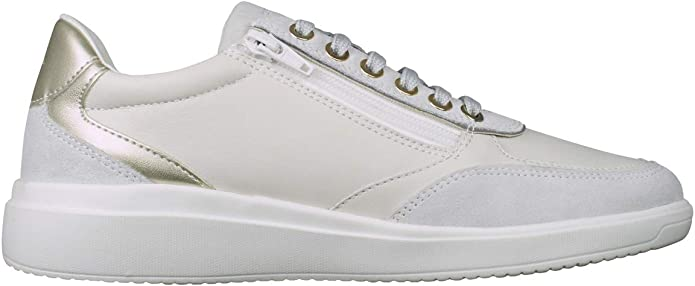 Geox D Jaysen A Womens Nappa Leather Zipped Trainers Fashion Shoes White