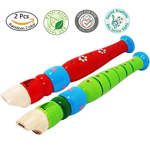 2 pcs Small Wooden Recorders For Toddlers,Colorful Piccolo Flute for Kids,Learning Rhythm Musical Instrument,Sealive Baby Early Education Music&Sound Toys for Autism Or Preschool Child (Random Color) (Recorder Pentatonic)