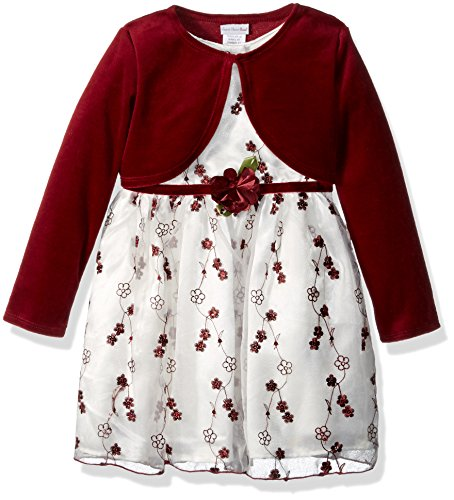 Sweet Heart Rose Little Girls' Toddler 2 Pc Dress, Embroidered Organza Dress with Knit Cardigan, Burgundy, 2T