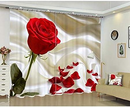 Camere Da Letto Rosse.Haottp Tende 3d Rosa Rossa Camera Da Letto Tenda Finestra Oscurante Soggiorno Ize Personalizzato Copre Fodera Per Cuscino 280x240cm Amazon It Casa E Cucina