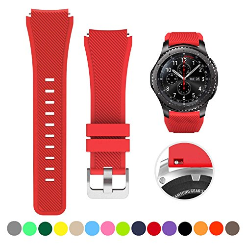 Price comparison product image Bands for Samsung Gear S3 Frontier/Classic Watch Silicone Bracelet, Sports Silicone Band Strap Replacement Wristband For Samsung Gear S3 Frontier / S3 Classic (Red)