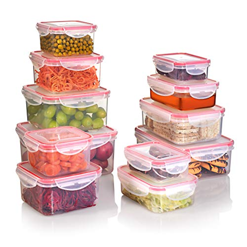 SEALCO Food Storage Containers with Lids - Reusable Plastic Containers - BPA-Free, Stackable, Microwave, Dishwasher, Freezer Safe - Airtight - 12 Piece Set