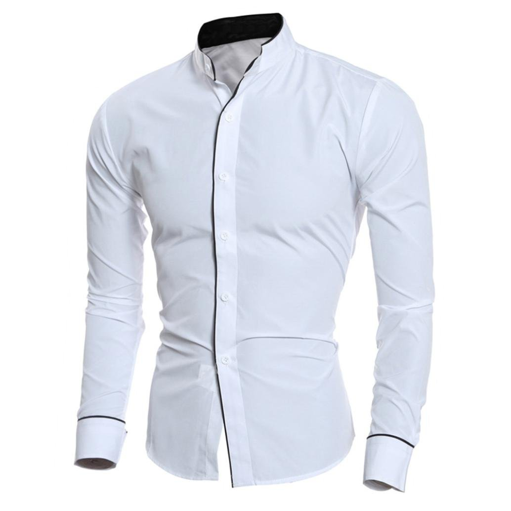 Ximandi Men Shirt Long Sleeve Shirts Slim Fit Male Striped Solid Dress Shirts