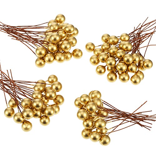 BBTO Artificial Holly Berries, 100 Pieces Mini 10 mm Fake Berries Decor on Wire for Christmas Tree Decorations Flower Wreath DIY Craft Use (Gold) (Christmas Craft Decorations Tree)