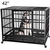 ITORI 42 in Heavy Duty Metal Dog Cage Strong Kennel Crate and Playpen for Training Separation Anxiety Dog and Pet Indoor and Outdoor with Anti-Escape Locks&Double Doors Design Included Lockable Wheels