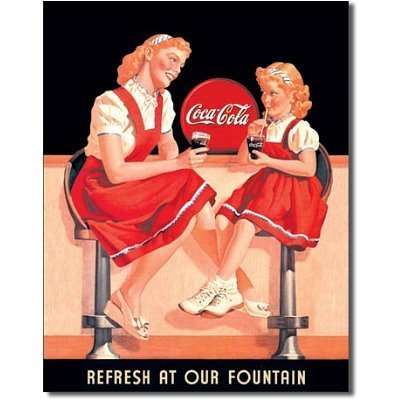 Coke Refresh Fountain (Coca Cola Coke Refresh at our Fountain Retro Vintage Tin Sign by Poster Revolution)