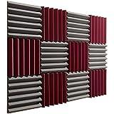 "Pro Studio Acoustics - 12""x12""x2"" Acoustic Wedge Foam Absorption Soundproofing Tiles - Burgundy/Charcoal - 12 Pack"
