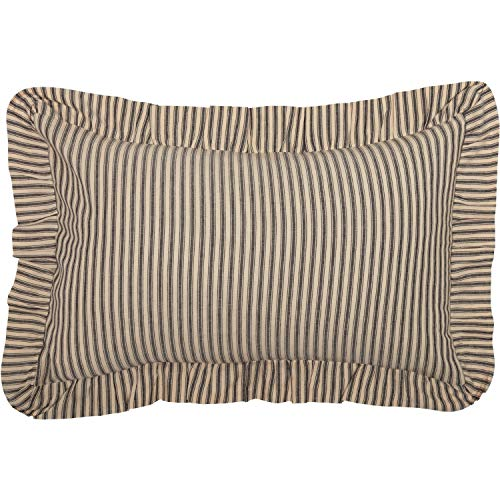 (VHC Brands Farmhouse Bedding Sawyer Mill Ticking Cotton Striped Rectangle Cover Insert Pillow Charcoal Dark Creme White)