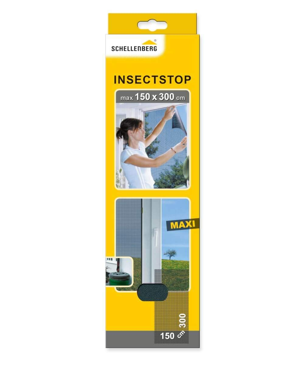 Schellenberg 50325 Fly Screen, Insect, Mosquito Protection Maxi, White or Dark Gray (150 x 300 cm), 150x300cm