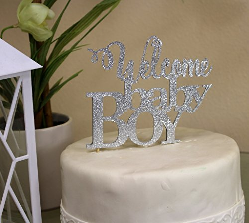 All About Details Silver Welcome Baby Boy Cake Topper