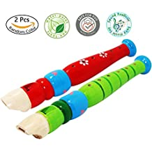 2 pcs Small Wooden Recorders For Toddlers,Colorful Piccolo Flute for Kids,Learning Rhythm Musical Instrument,Sealive Baby Early Education Music&Sound Toys for Autism Or Preschool Child (Random Color)