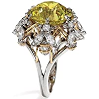 khamchanot Women 925 Silver Round Cut Upscale Yellow Sapphire Quartz & White Topaz Rings (10)
