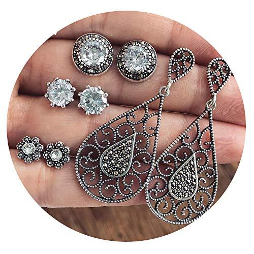 (4 pair/set women Crystal Bohemian earring Stud earrings women dazzling Cubic zirconia opal,4)