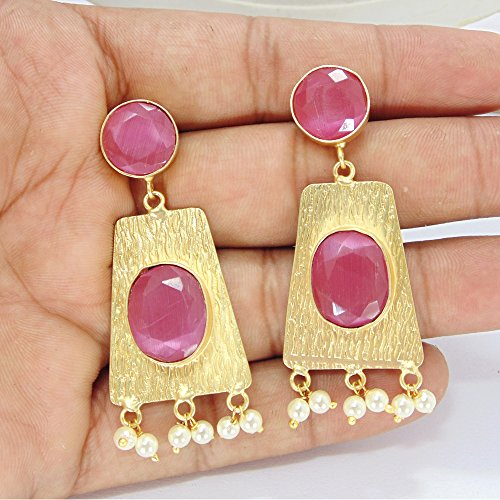 Textured Design 22k Gold Vermeil Pink Monalisa And Pearl Stone Dangle Earrings ()