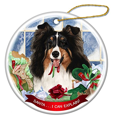 Tri Color Sheltie Dog Porcelain Hanging Ornament Pet Gift 'Santa.. I Can Explain!' for Christmas Tree and Year (Sheltie Porcelain)
