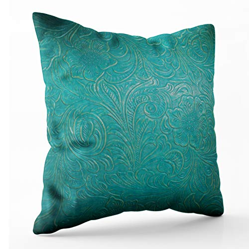 Shorping Zippered Pillow Covers Pillowcases 16X16 Inch Leather Turquoise Blue Floral Faux Decorative Throw Pillow Cover,Pillow Cases Cushion Cover for Home Sofa Bedding Bed Car Seats Decor