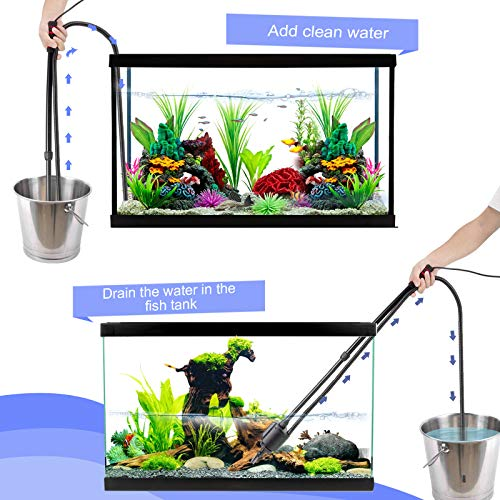 AQQA Aquarium Gravel Cleaner Siphon Kit,6 in 1 Electric Automatic Removable Vacuum Water Changer,Multifunction Wash Sand Suck The Stool Filter 110V/ 20W 320GPH (Black)