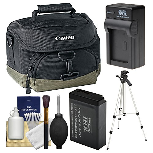 Canon 100EG Digital SLR Camera Case - Gadget Bag with LP-E17 Battery & Charger + Tripod + Cleaning Kit for Rebel SL2, T6s, T6i, T7i, EOS 77D by Canon