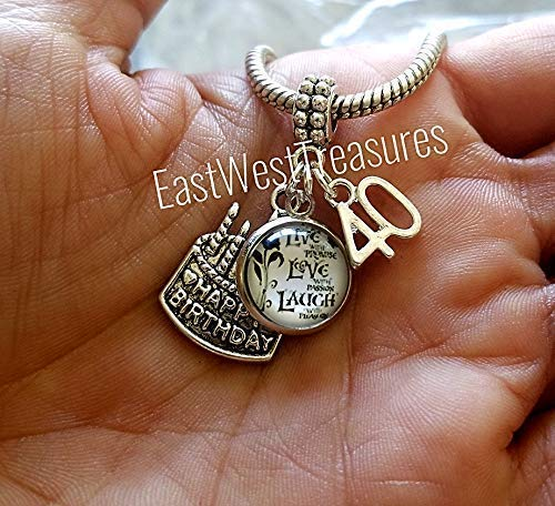 88693dd72 ... 40 40th birthday Charms pendant-For Charm Bracelets and chain necklaces- 40th gift