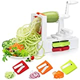 Folksmate Spiralizer Vegetable Slicer, Vegetable Spiralizer with Strong Stainless Steel Spiral 3-Blade, Best Veggie Pasta Spaghetti Salad Maker for Low Carb/Paleo/Gluten-Free