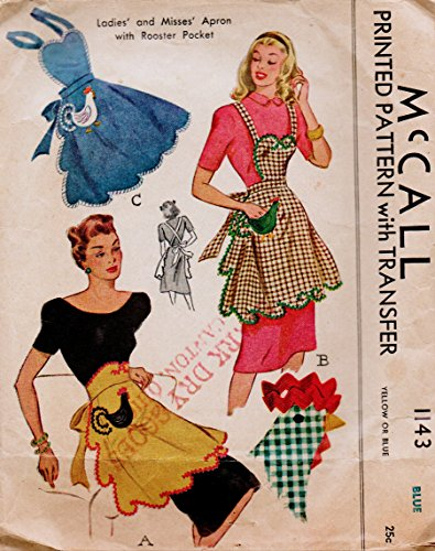 McCall's 1143 Vintage Cobbler or Hostess Apron with Rooster Pocket Interest Sewing Pattern Blue Transfer Included