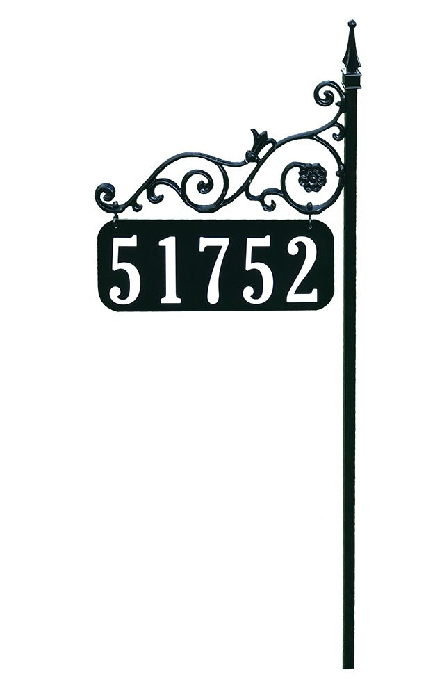 Address America Yard Sign [Custom House Address Numbers Plaque Handcrafted 48 Superb Home Sign All Metal, Aluminum, Steel [Highway-Grade Reflective Vinyl, Cast Metal] Black Inc. AS-O-48