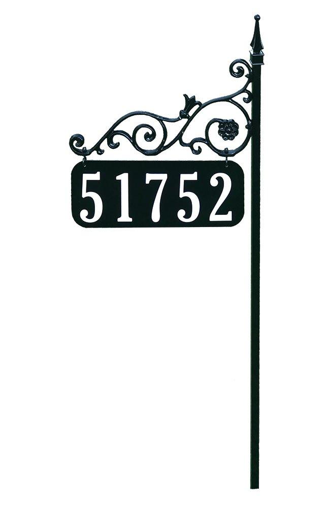 Address America Yard Sign [Orleans Custom House Address Numbers Plaque Handcrafted 48'' Superb Home Sign All Metal, Aluminum, Steel [Highway-Grade Reflective Vinyl, Cast Metal] Black