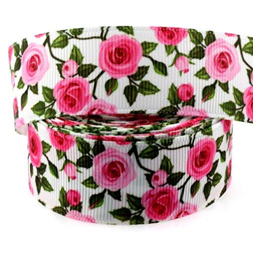 Midi Ribbon 10 Yards 1 Inch Rose Leaf Print Grosgrain Ribbon for Hair Bow Hair Clip Accessories Collar DIY Supplies Material