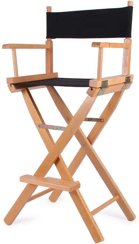 Silla plegable de lona de madera maciza Taburete alto de ...