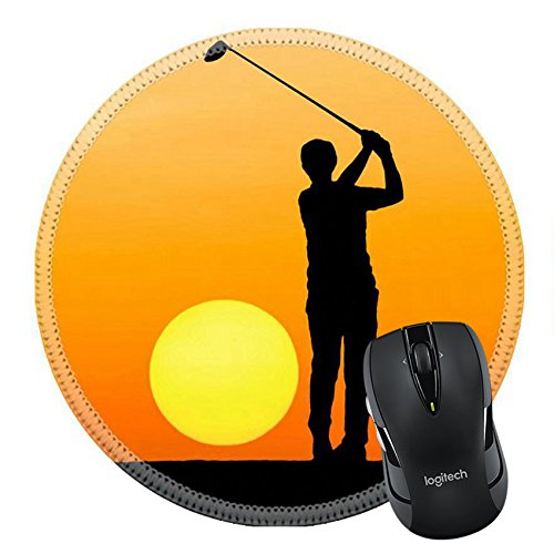 Price comparison product image MSD Natural Rubber Mousepad Round Mouse Pad/Mat: 35100221 silhouette golfer playing golf on sunset