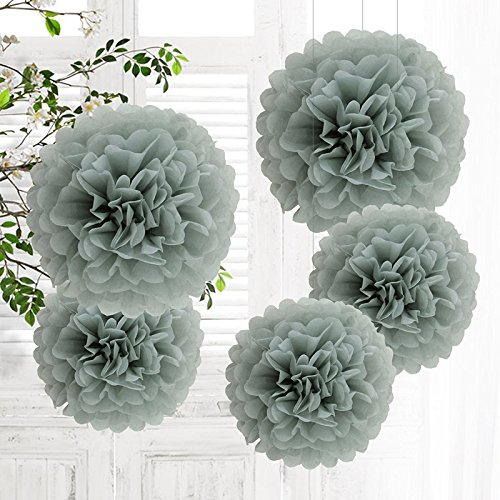 5er Set Tissue Paper Pom-Poms Flower Grey for Holiday, Anniversary, Birthday, Graduation, Wedding, Bridal & Baby Parties. Outdoor & Indoor Party Decorations