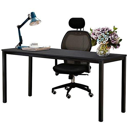 Dland 63'' X-Large Computer Desk BS1-160BB, Decent & Steady, Composite Wood Board, Home Office Desk/ Workstation/ Table, Black & Black Legs, 1 Pack by Dland