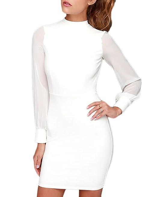 Vestido Largos Manga De Las Mujeres Bodycon Cortos Vestido Cuello Alto De Noche Fiesta Blanco M