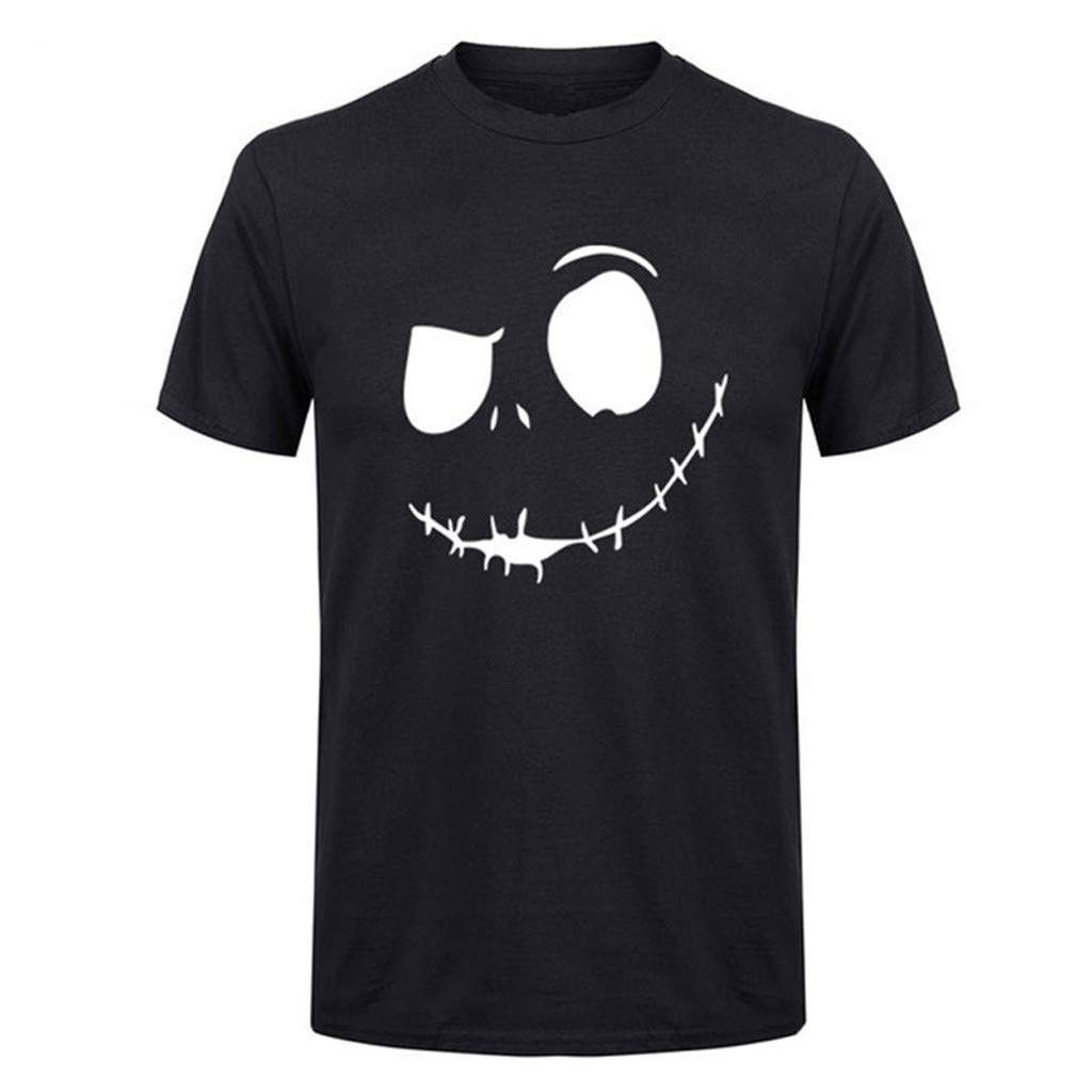 Sunmoot T Shirt for Men Summer New Evil Smile Face Printed Short Sleeve Round-Collar Cotton Comfortable Top Blouse