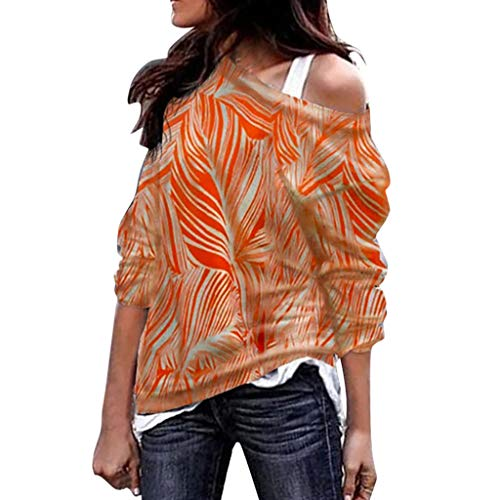 TnaIolral Women Tops Summer Long Sleeve Geometric Print Sweatshirt Pullover Blouse Orange